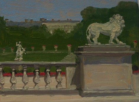 lion-and-diana-statues-and-the-luxembourg-garden-paris_oil-on-paper_4-5-x-6