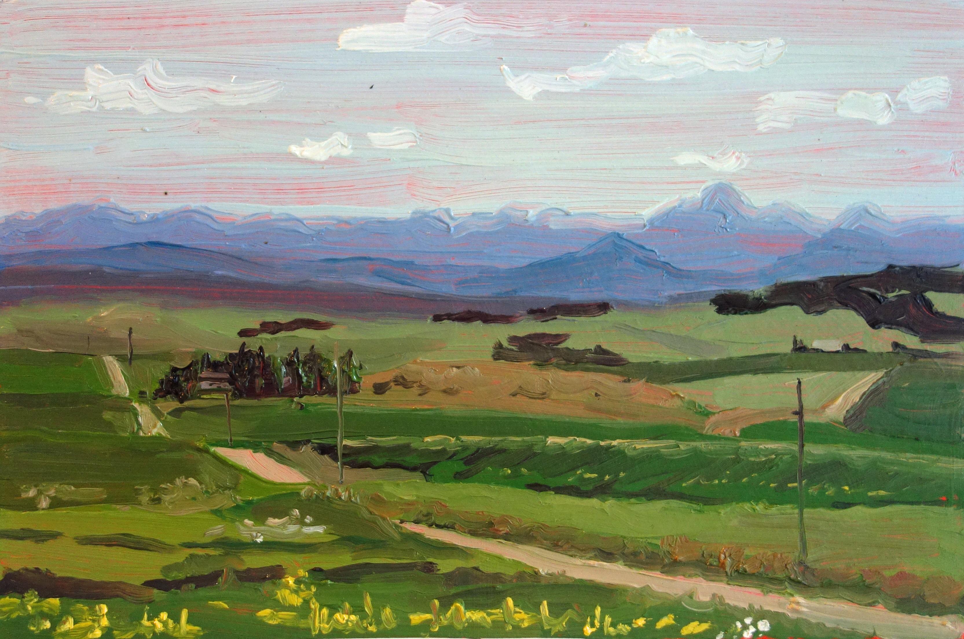 Driggs_Idaho_View_Oil_on_Paper_Painting_9x6_Maud_Taber_Thomas_Washington_DC_Georgetown