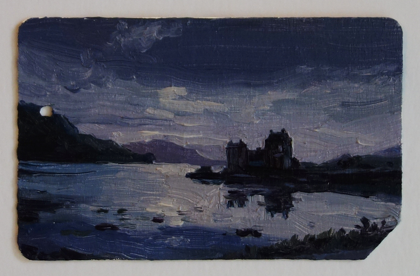 Eilean_Donan_Castle_Scotland_Oil_on_NYC_Metrocard_Painting_2x3_Maud_Taber_Thomas_Washington_DC_Georgetown