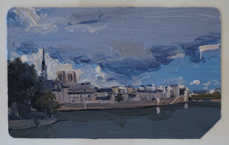 Ile_de_la_Cite_Paris_Oil_on_NYC_Metrocard_Painting_2x3_Maud_Taber_Thomas_Washington_DC_Georgetown
