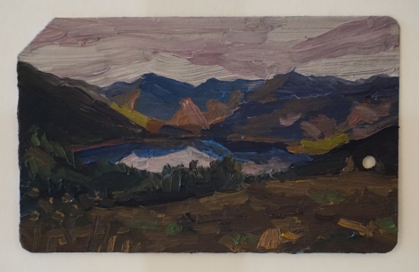 Lake_in_the_Scottish_Highlands_Oil_on_NYC_Metrocard_Painting_2x3_Maud_Taber_Thomas_Washington_DC_Georgetown