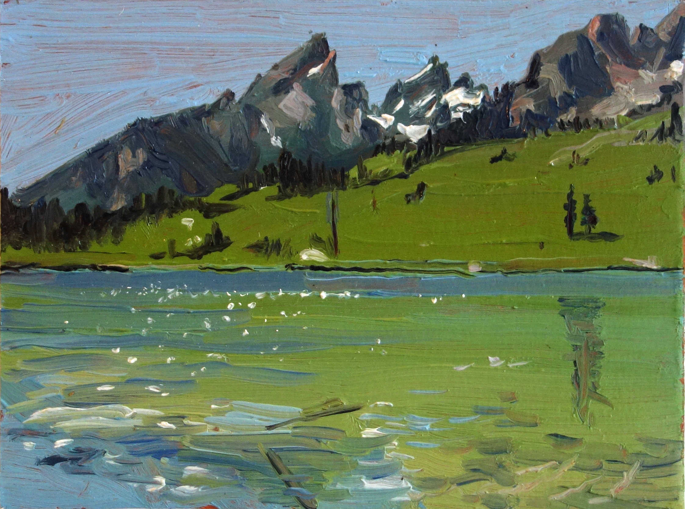 Leigh_Lake_Jackson_Hole_WY_Oil_on_Paper_Painting_6x4.5_Maud_Taber_Thomas_Washington_DC_Georgetown