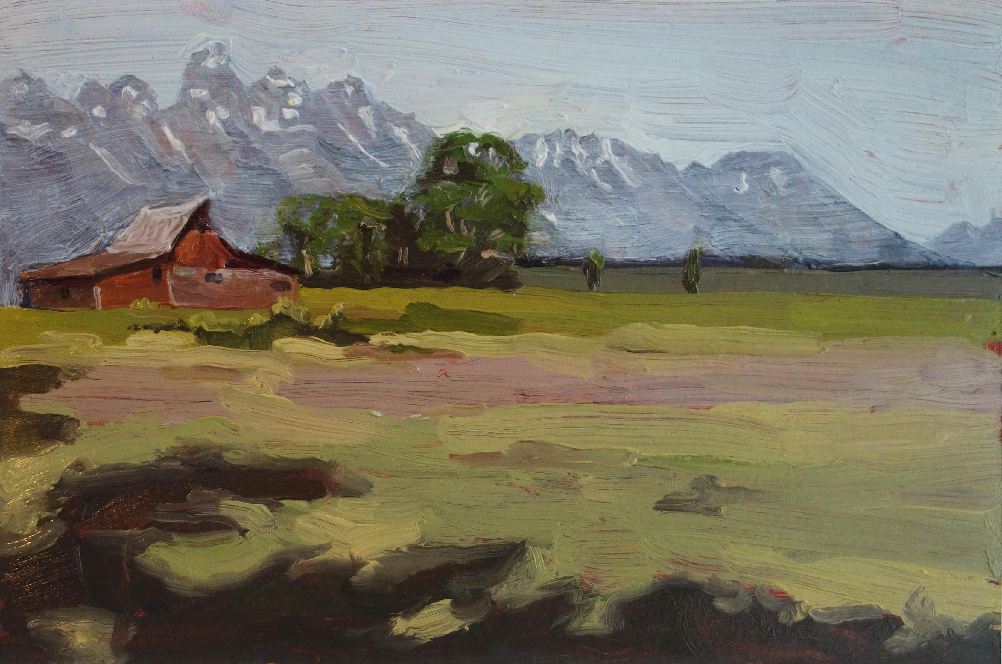 Mormon_Barn_Jackson_Hole_WY_Oil_on_Paper_Painting_9x6_Maud_Taber_Thomas_Washington_DC_Georgetown