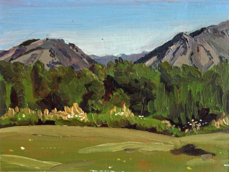 Mountain_View_Jackson_Hole_WY_Oil_on_Paper_Painting_6x4.5_Maud_Taber_Thomas_Washington_DC_Georgetown