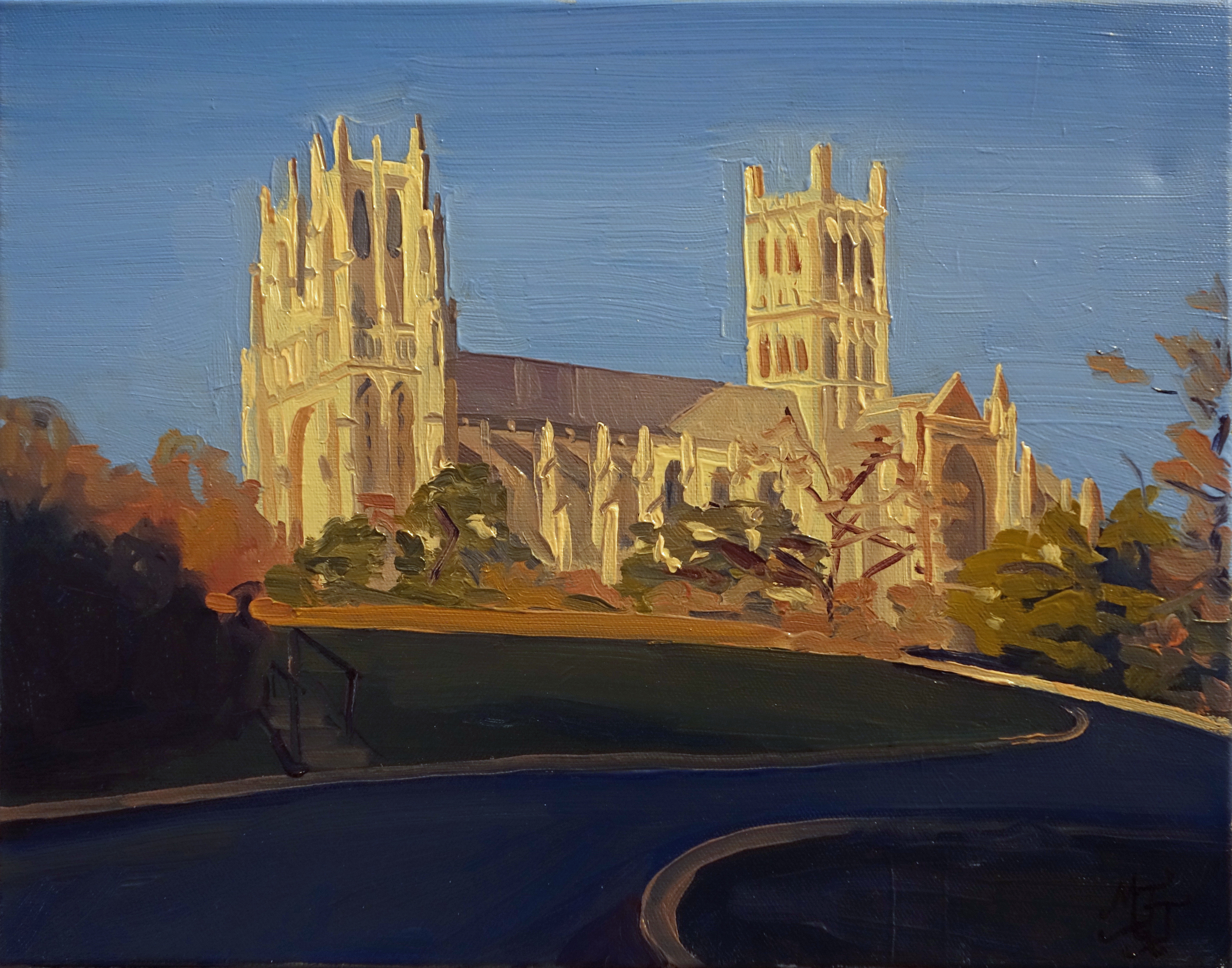 National_Cathedral_in_Afternoon_Light_Oil_on_Canvas_Painting_11x14_Maud_Taber_Thomas_Washington_DC_Georgetown