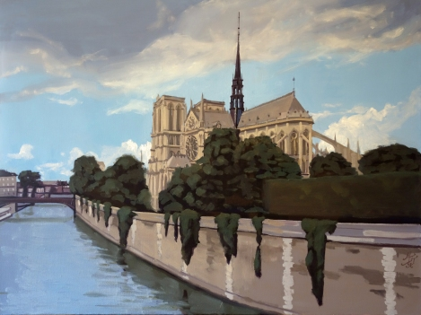 Notre_Dame_de_Paris_Oil_on_Canvas_Painting_36x48_Maud_Taber_Thomas_Washington_DC_Georgetown