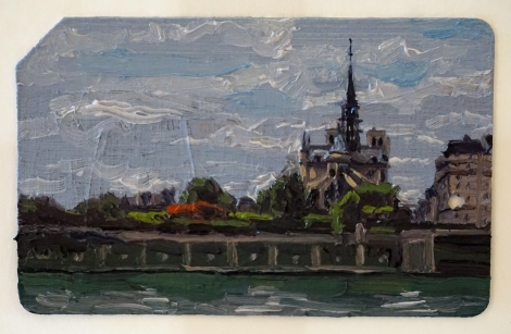 Notre_Dame_on_a_Grey_Day_Oil_on_NYC_Metrocard_Painting_2x3_Maud_Taber_Thomas_Washington_DC_Georgetown