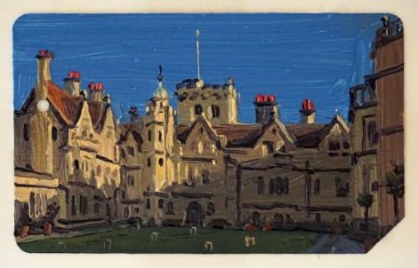 Oxford_Brasenose_College_I_Oil_on_NYC_Metrocard_Painting_2x3_Maud_Taber_Thomas_Washington_DC_Georgetown
