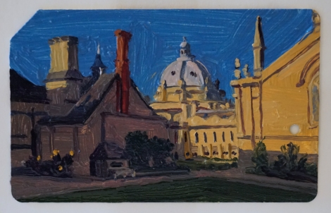 Oxford_Brasenose_College_II_Oil_on_NYC_Metrocard_Painting_2x3_Maud_Taber_Thomas_Washington_DC_Georgetown