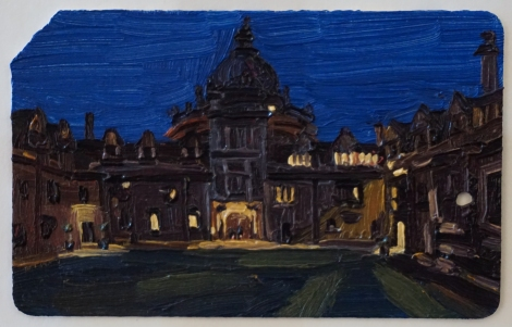 Oxford_Brasenose_College_III_Oil_on_NYC_Metrocard_Painting_2x3_Maud_Taber_Thomas_Washington_DC_Georgetown