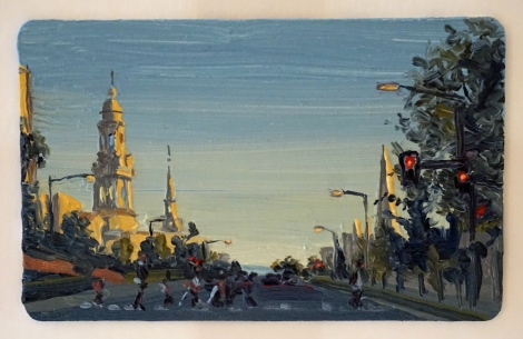 Sunset_16th_Street_Churches_DC_Oil_on_DC_Smartrip_Painting_2x3_Maud_Taber_Thomas_Washington_DC_Georgetown