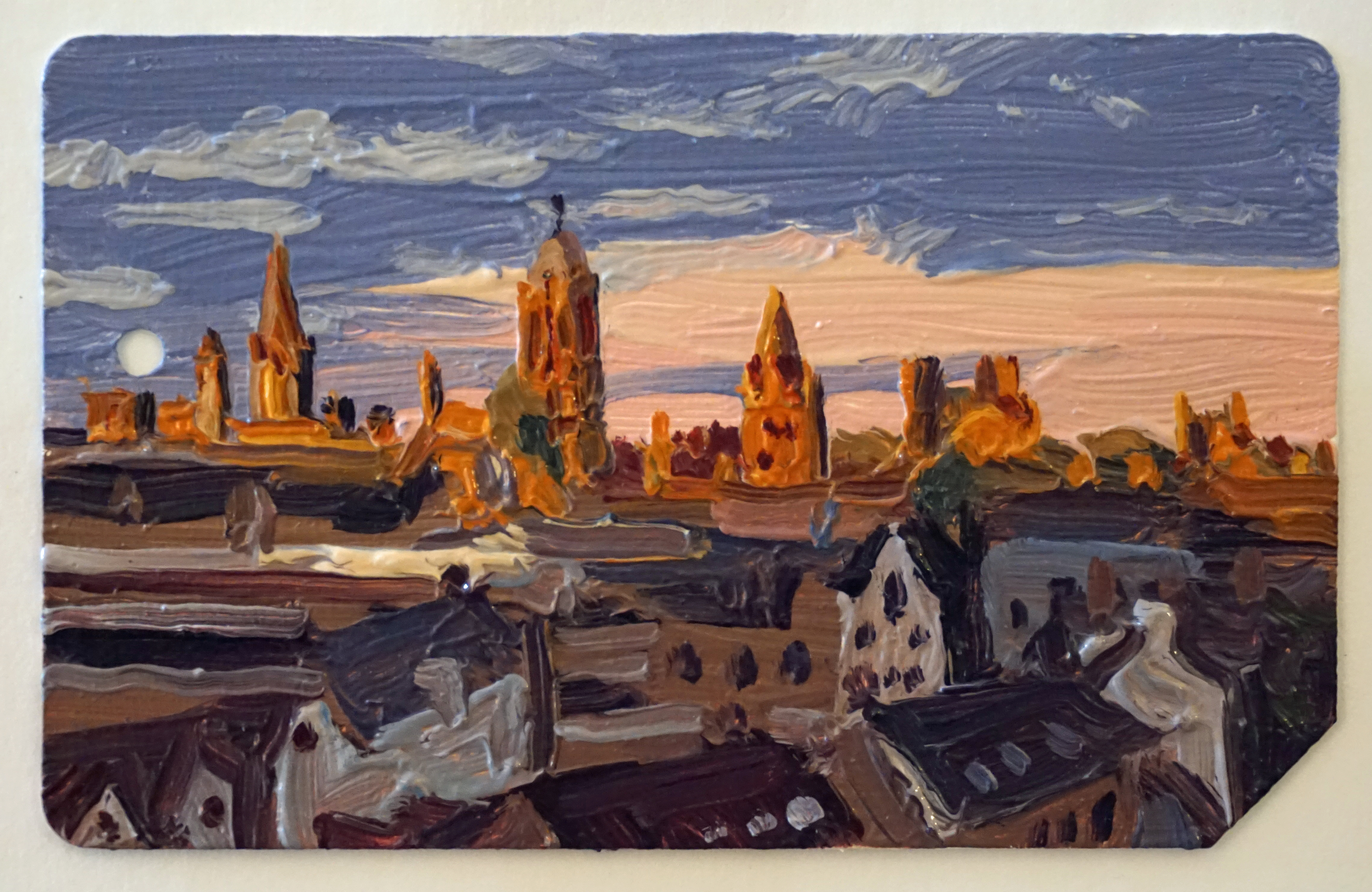 Sunset_Oxford_Spires_Oil_on_NYC_Metrocard_Painting_2x3_Maud_Taber_Thomas_Washington_DC_Georgetown