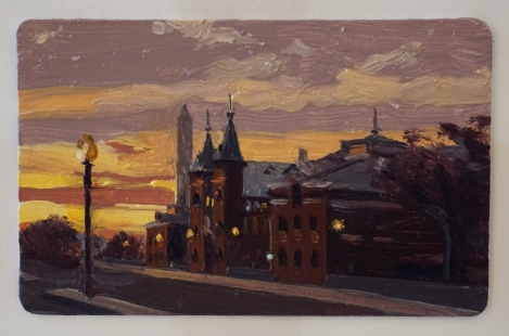 Sunset_Smithsonian_Castle_Oil_on_DC_Smartrip_Painting_2x3_Maud_Taber_Thomas_Washington_DC_Georgetown