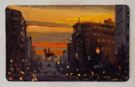 Sunset_Thomas_Circle_DC_I_Oil_on_DC_Smartrip_Painting_2x3_Maud_Taber_Thomas_Washington_DC_Georgetown