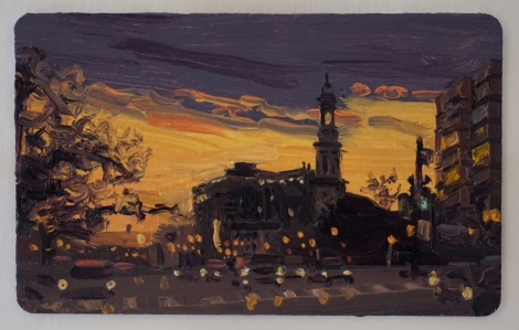 Sunset_Thomas_Circle_DC_II_Oil_on_DC_Smartrip_Painting_2x3_Maud_Taber_Thomas_Washington_DC_Georgetown
