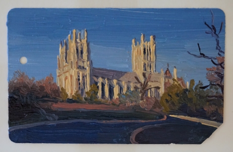 Sunset_Washington_National_Cathedral_Oil_on_NYC_Metrocard_Painting_2x3_Maud_Taber_Thomas_Washington_DC_Georgetown